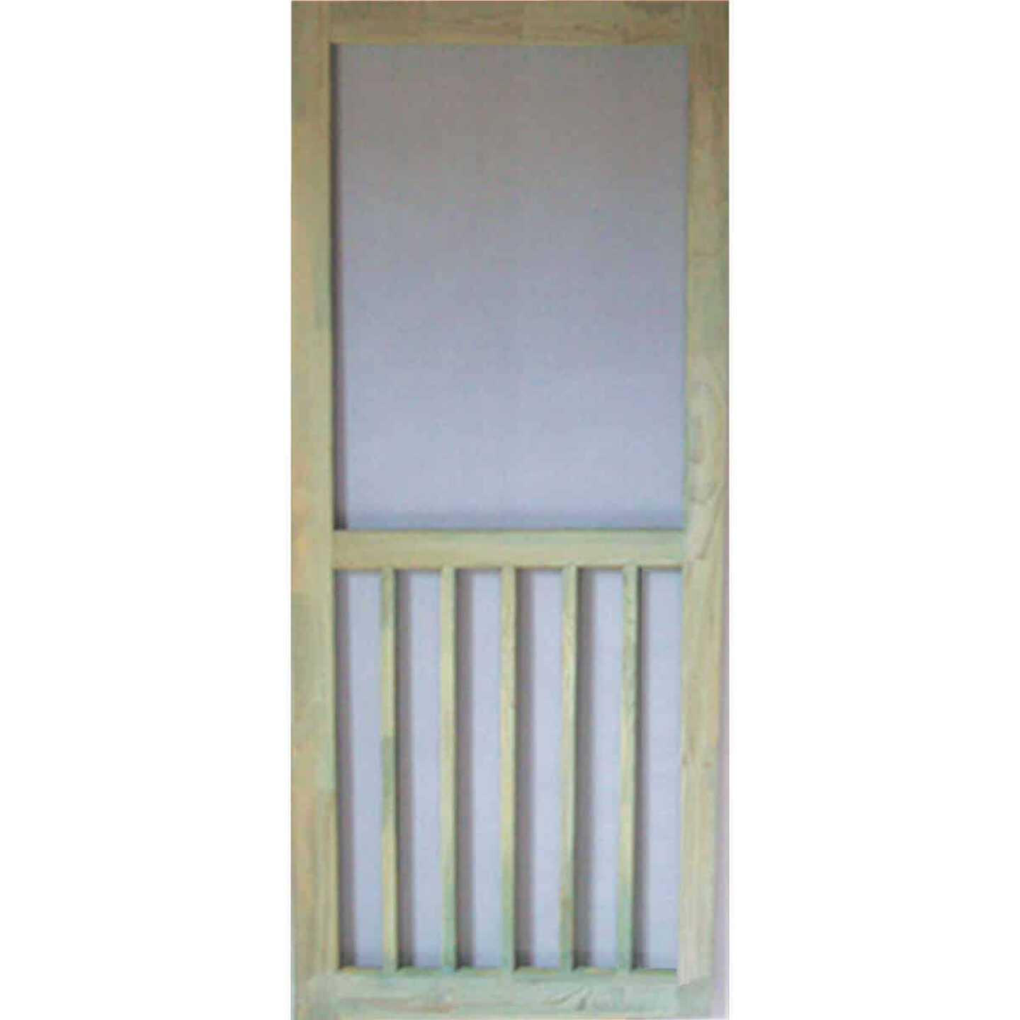 Snavely Kimberly Bay 32 In. W x 80 In. H x 1-1/8 In. Thick ACQ Treated Natural Finger Joint Pine Stiles & Rails 5-Bar Screen Door Image 1