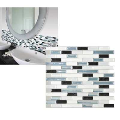 Smart Tiles Approx. 10 In. x 10 In. Glass-Like Vinyl Backsplash Peel & Stick, Muretto Brina Mosaic (6-Pack)