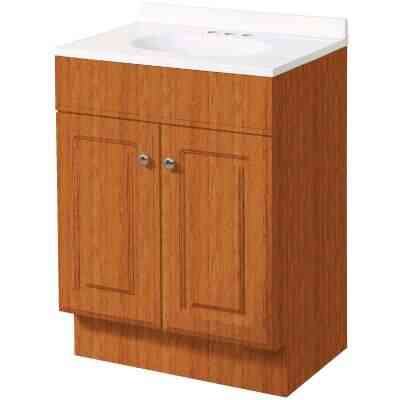 Zenith Zenna Home Oak 36 In. W x 35 In. H x 18 In. D Vanity with White Cultured Marble Top