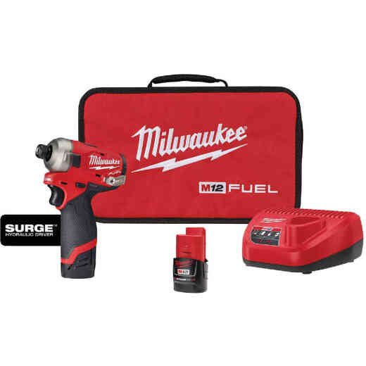 Milwaukee M12 Fuel Surge 1/4 In. Hex Hydraulic Driver 2 Battery Kit