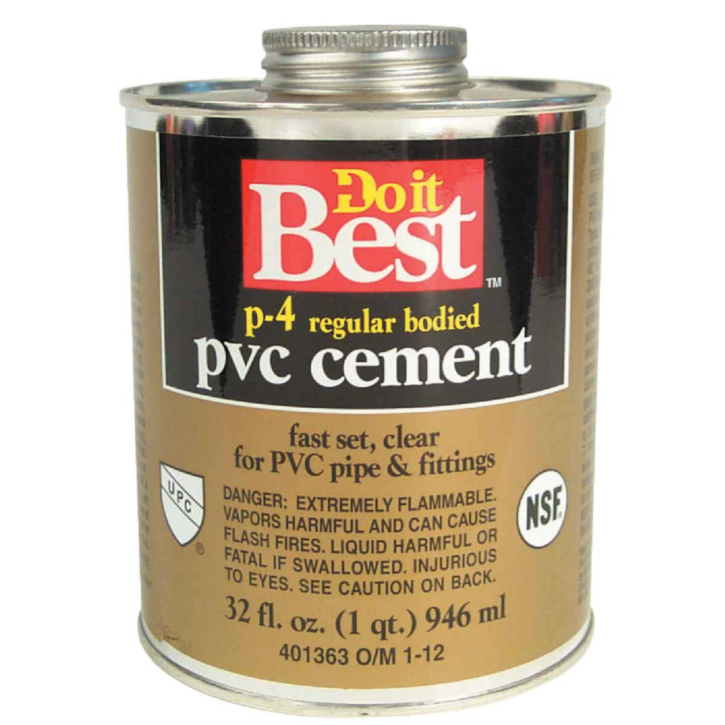 Do it Best 32 Oz. Regular Bodied Clear PVC Cement Image 1