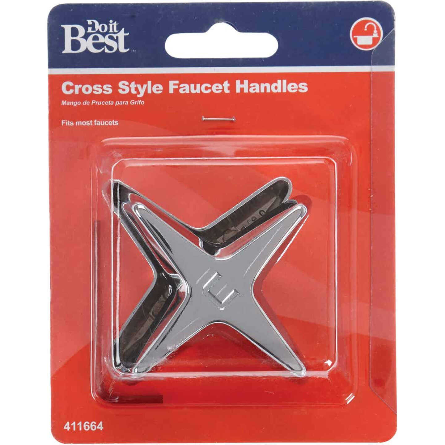 Do it Cross Pattern Replacement Chrome Faucet Handle Image 2