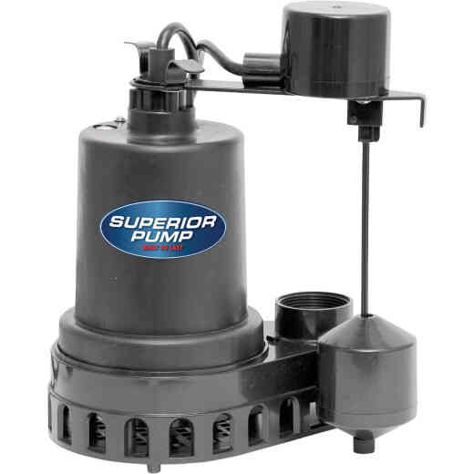 Superior Pump 1/2 HP Thermoplastic Submersible Sump Pump with Vertical Float Switch
