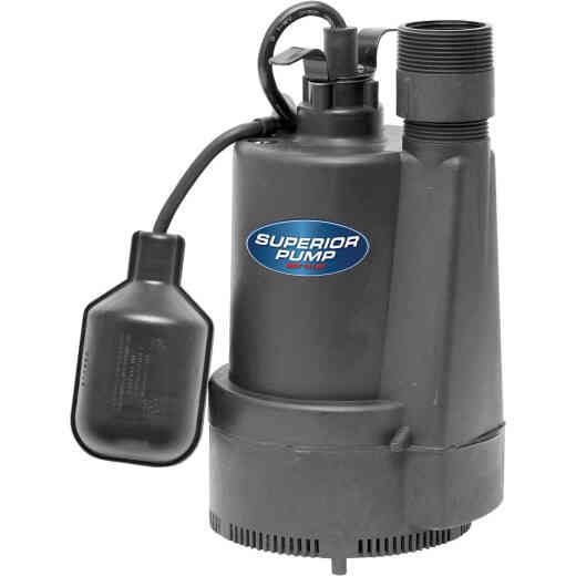 Superior Pump 1/3 HP Thermoplastic Submersible Sump Pump with Tethered Float Switch