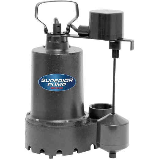 Superior Pump 1/2 HP Cast Iron Submersible Sump Pump with Vertical Float Switch & Stainless Steel Impeller