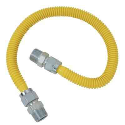 Dormont 5/8 In. OD x 48 In. Coated Stainless Steel Gas Connector, 3/4 In. MIP x 1/2 In. MIP (Tapped 3/8 In. FIP)
