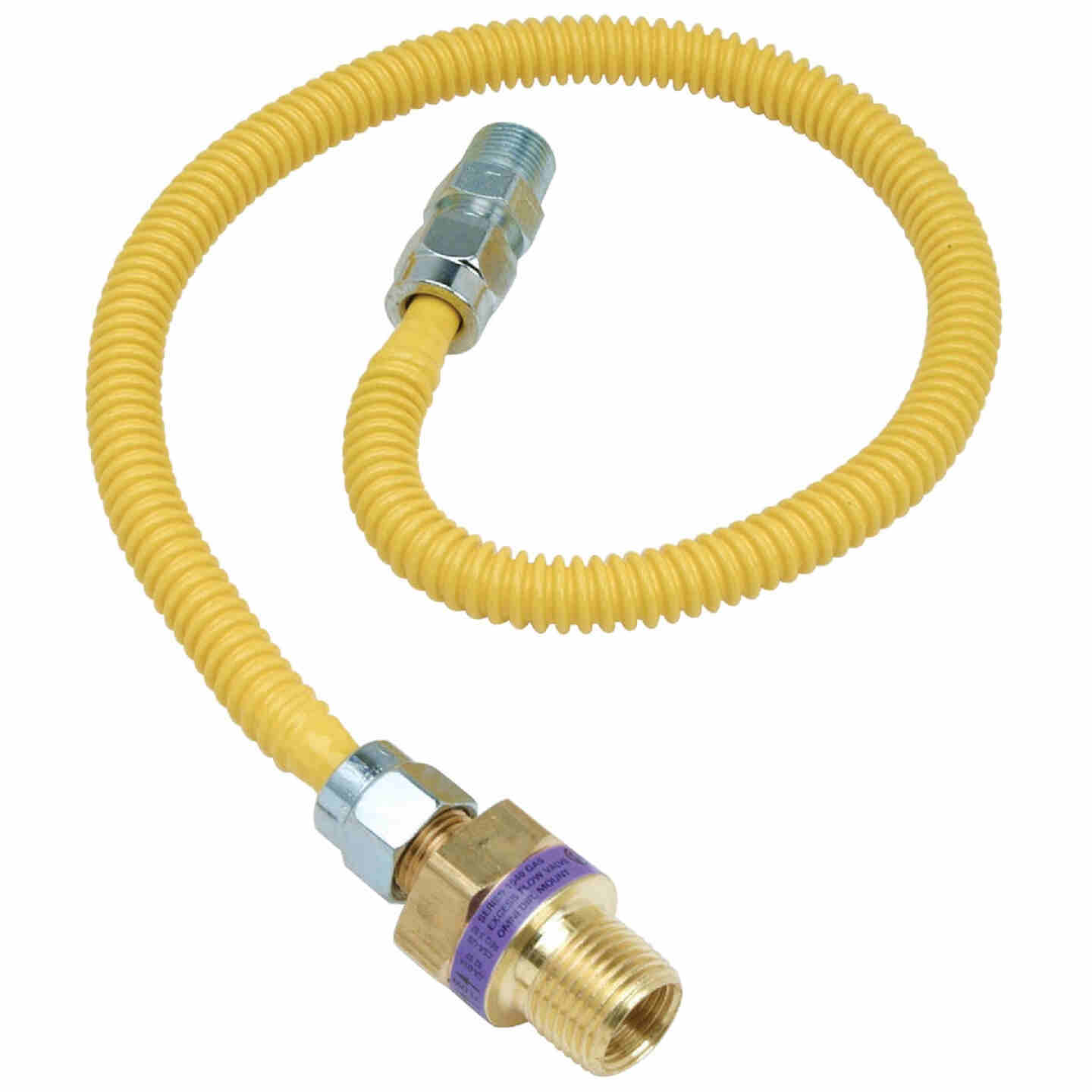 Dormont 3/8 In. OD x 36 In. Coated Stainless Steel Gas Connector, 3/8 In. MIP (Tapped 1/4 In. FIP) x 1/2 In. MIP SmartSense Image 1