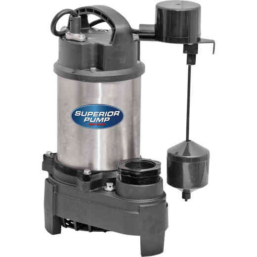Superior Pump 1/2 HP Stainless Steel/Cast Iron Submersible Sump Pump with Vertical Float Switch