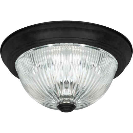 Home Impressions 13 In. Matte Black Flush Mount Ceiling Light Fixture, Clear Glass
