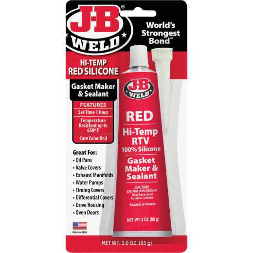 J-B Weld 3 Oz. Red Hi-Temp RTV Silicone Gasket & Sealant