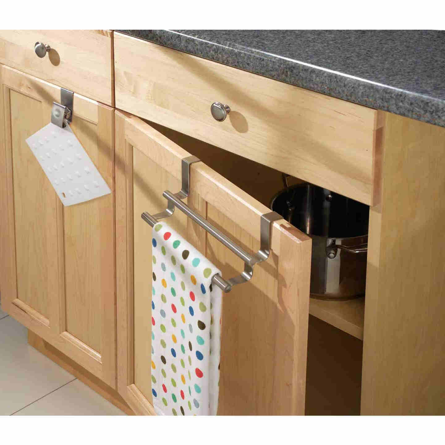 InterDesign Zia 9-1/4 in. Brushed Stainless Steel Over The Cabinet Double Towel Bar Image 2