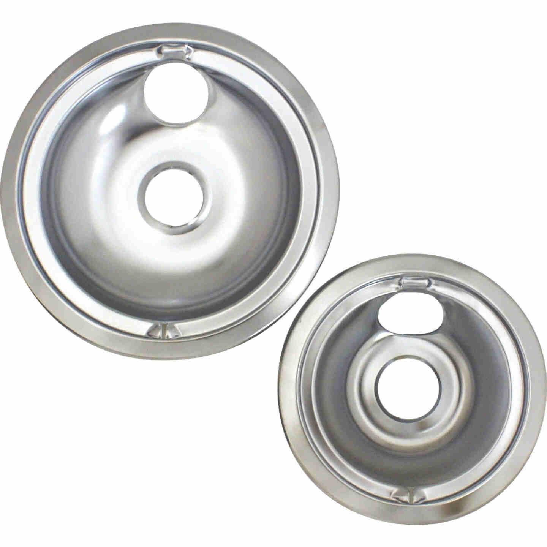 "Range Kleen Electric (1) 6"" & (1) 8"" Style B Round Chrome Drip Pan Image 2"