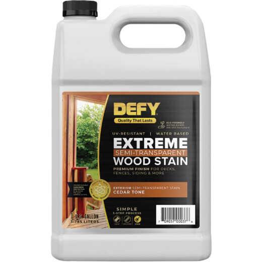 DEFY Extreme Semi-Transparent Exterior Wood Stain, Cedar Tone, 1 Gal. Bottle