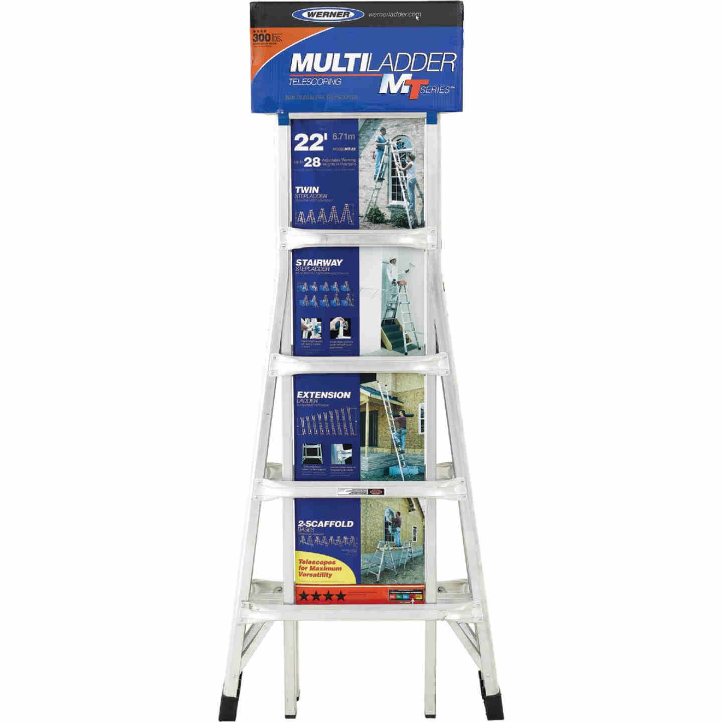 Werner 22 Ft. Aluminum Multi-Position Telescoping Ladder with 300 Lb. Load Capacity Type IA Ladder Rating Image 4