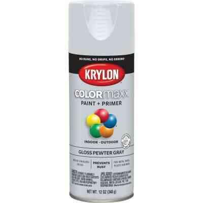 Krylon ColorMaxx 12 Oz. Gloss Spray Paint, Pewter Gray
