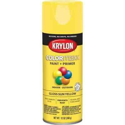 Krylon ColorMaxx 12 Oz. Gloss Spray Paint, Sun Yellow