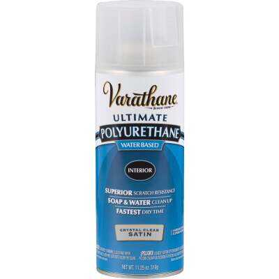 Varathane Satin Clear Interior Water-Based Spray Polyurethane, 11.25 Oz.