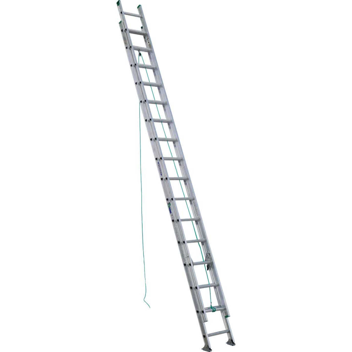 Werner 32 Ft. Aluminum Extension Ladder with 225 Lb. Load Capacity Type II Duty Rating Image 1