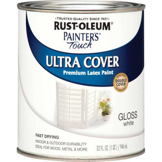 Rust-Oleum Painter's Touch 2X Ultra Cover Premium Latex Paint, White Gloss, 1 Qt.