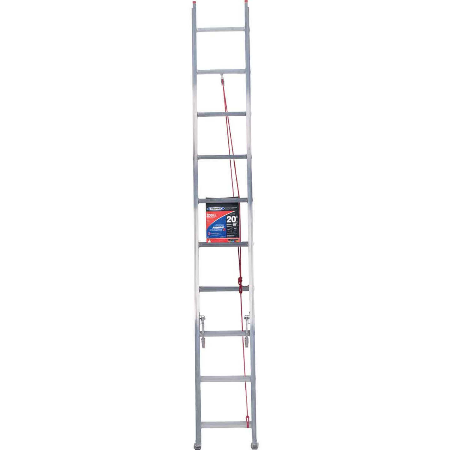 Werner 20 Ft. Aluminum Extension Ladder with 200 Lb. Load Capacity Type III Duty Rating Image 3