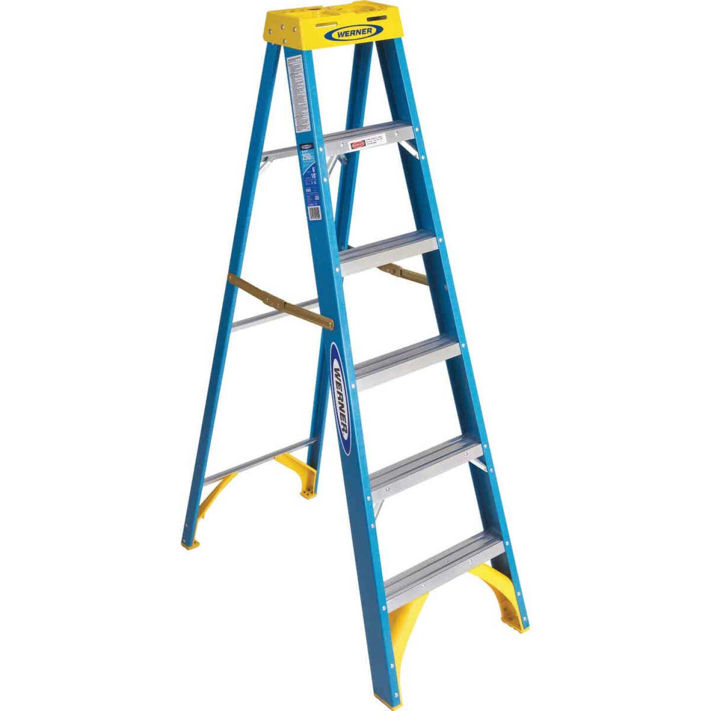 Werner 6 Ft. Fiberglass Step Ladder with 250 Lb. Load Capacity Type I Ladder Rating Image 1