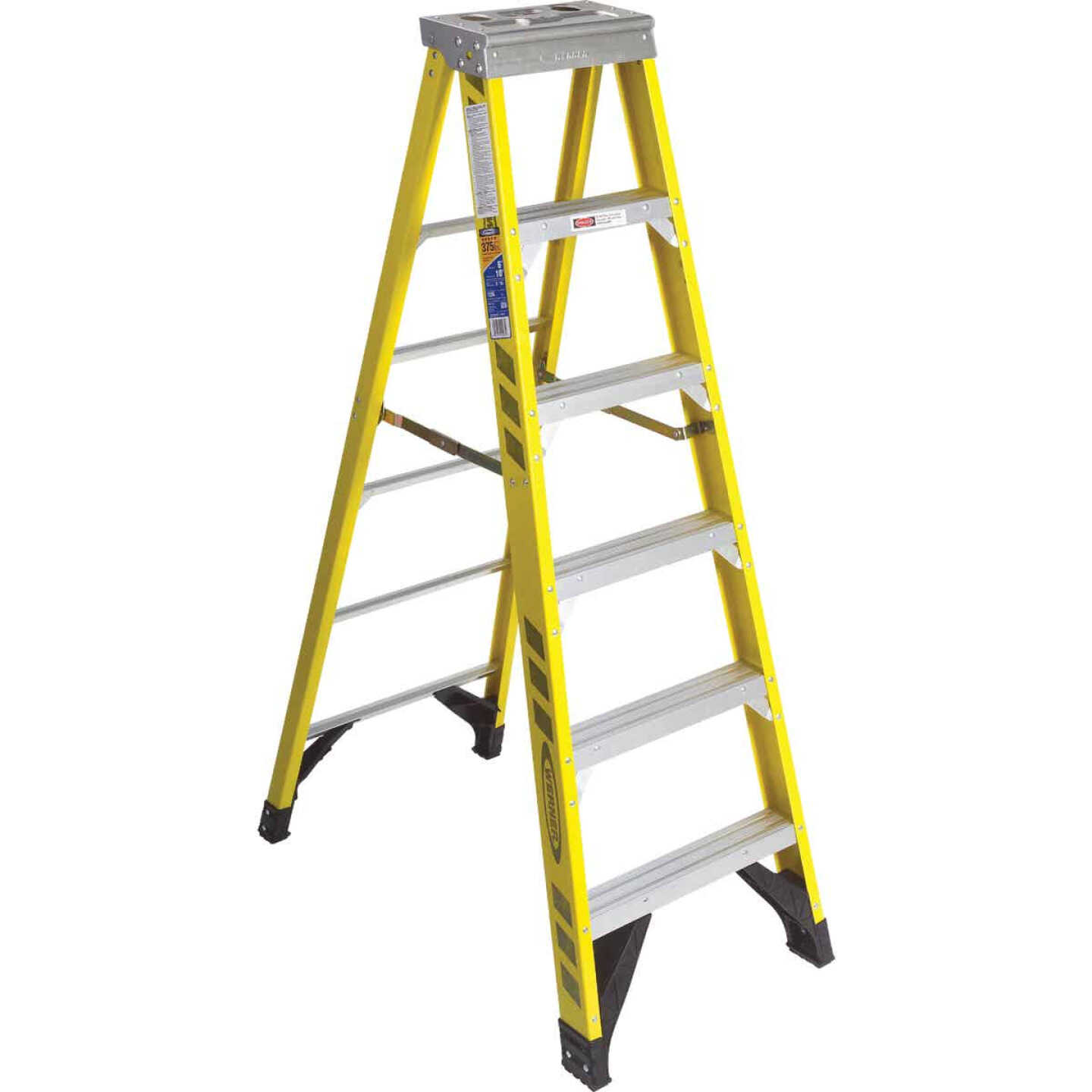 Werner 6 Ft. Fiberglass Step Ladder with 375 Lb. Load Capacity Type IAA Ladder Rating Image 1
