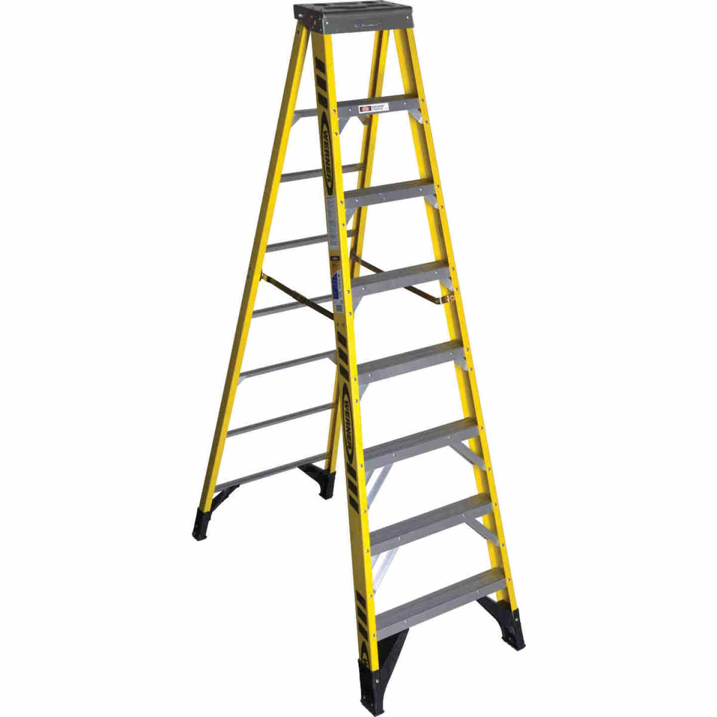 Werner 8 Ft. Fiberglass Step Ladder with 375 Lb. Load Capacity Type IAA Ladder Rating Image 1