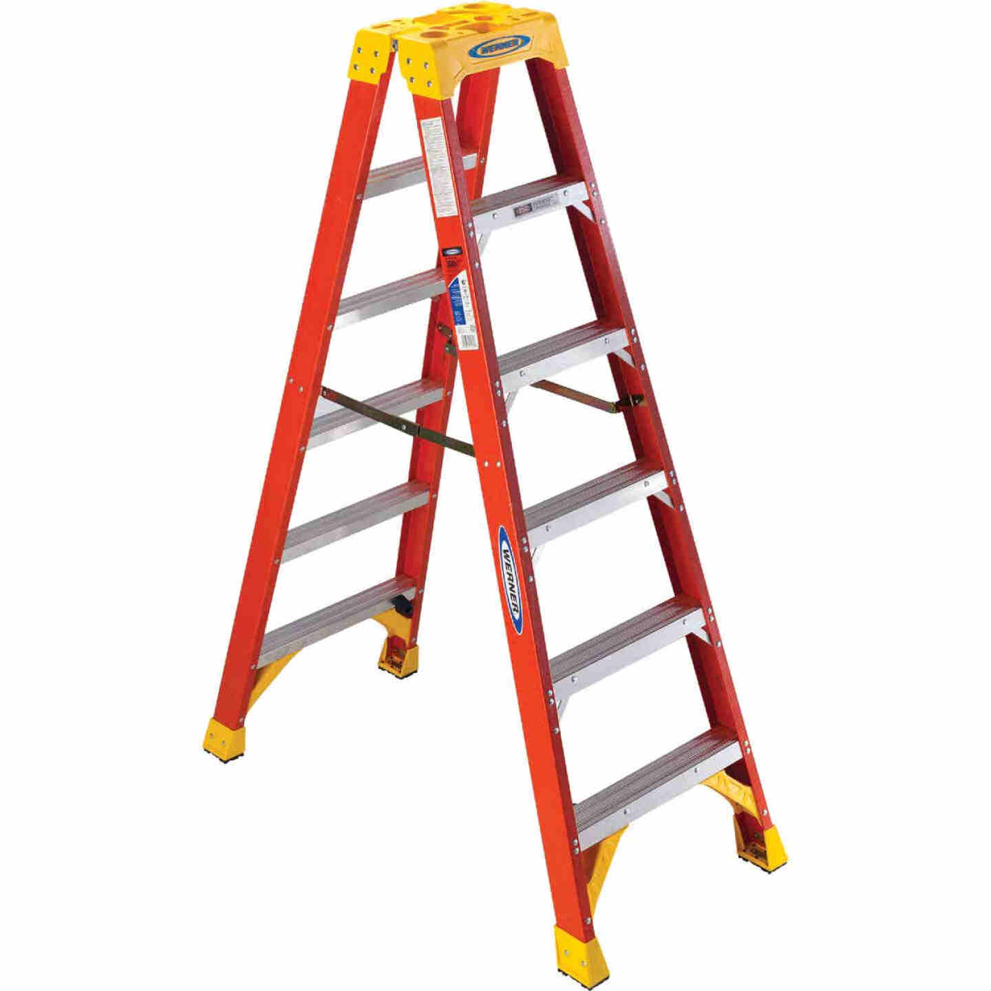 Werner 6 Ft. Fiberglass Twin Step Step Ladder with 300 Lb. Load Capacity Type IA Ladder Rating Image 1