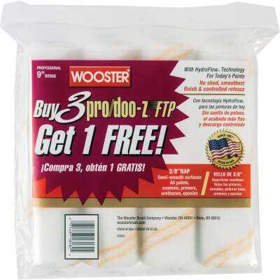 Wooster Pro/Doo-Z FTP 9 In. x 3/8 In. Woven Fabric Roller Cover (4 Pack)