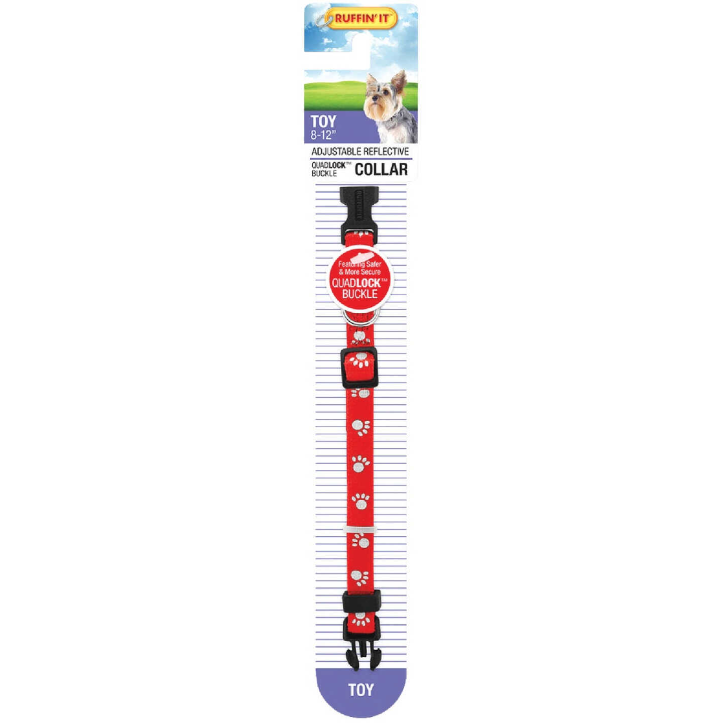 Westminster Pet Ruffin' it Reflective 8 In. to 12 In. Nylon Paw Print Dog Collar Image 5