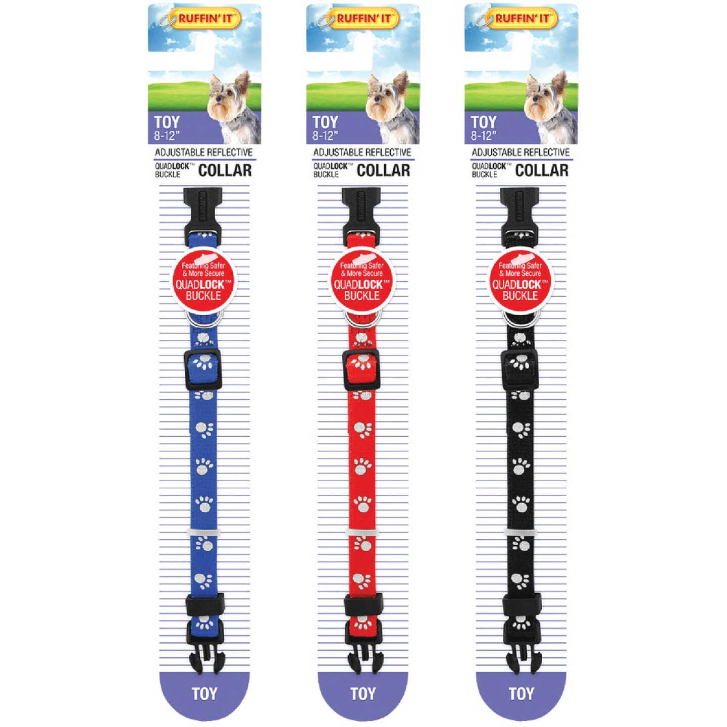 Westminster Pet Ruffin' it Reflective 8 In. to 12 In. Nylon Paw Print Dog Collar Image 4