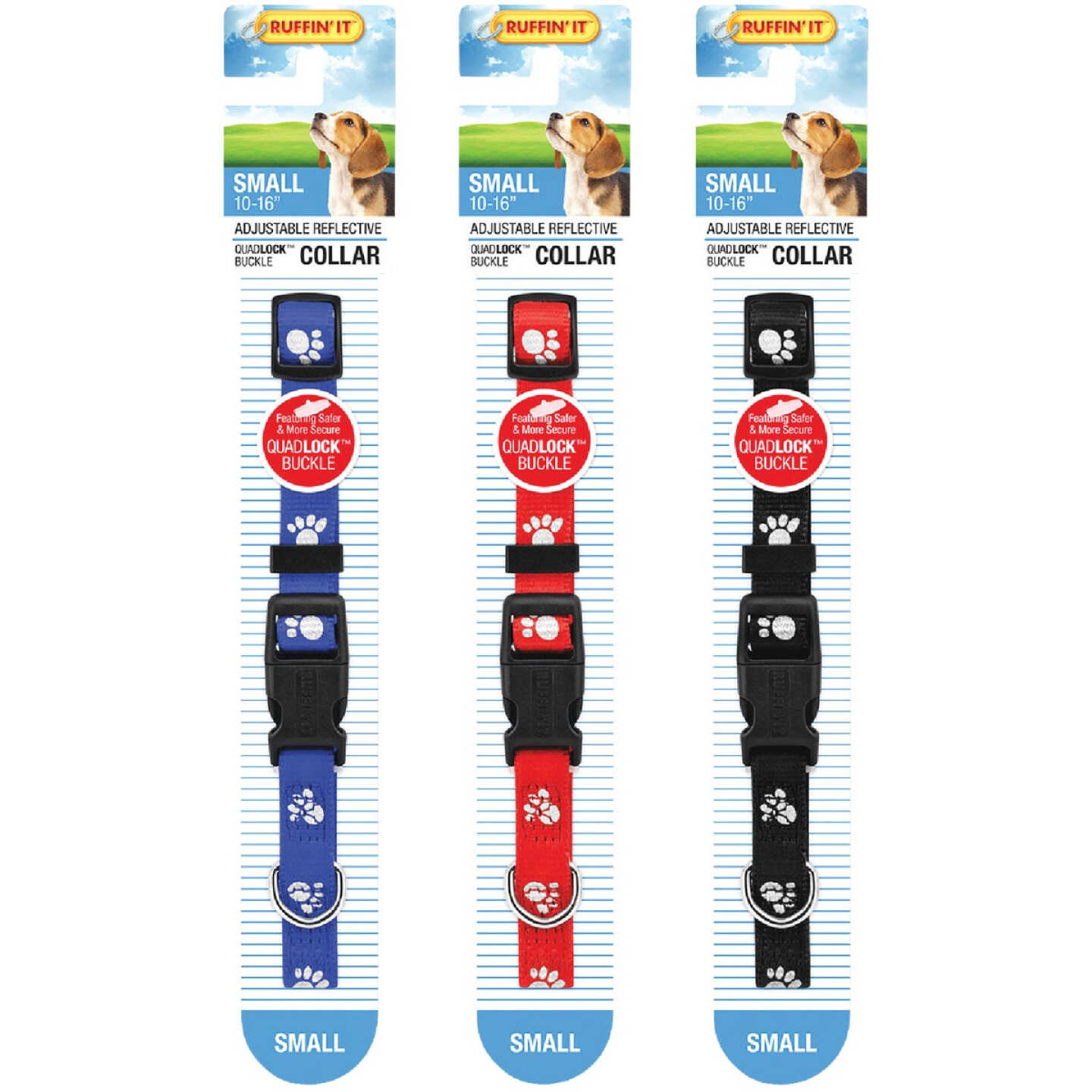 Westminster Pet Ruffin' it Reflective 10 In. to 16 In. Nylon Paw Print Dog Collar Image 4