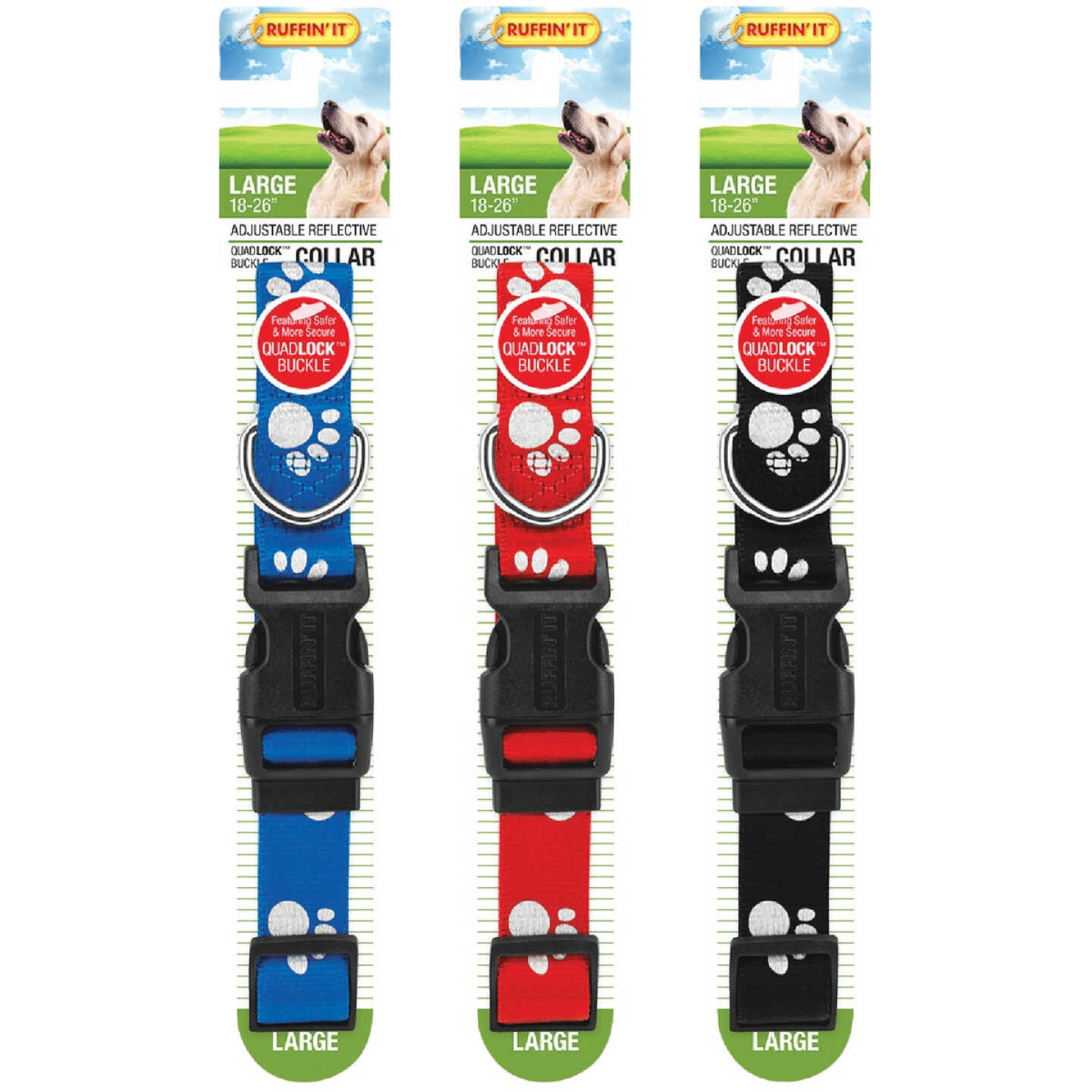 Westminster Pet Ruffin' it Reflective 18 In. to 26 In. Nylon Paw Print Dog Collar Image 4