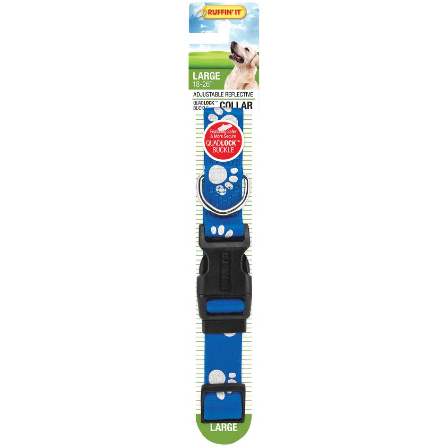 Westminster Pet Ruffin' it Reflective 18 In. to 26 In. Nylon Paw Print Dog Collar Image 3