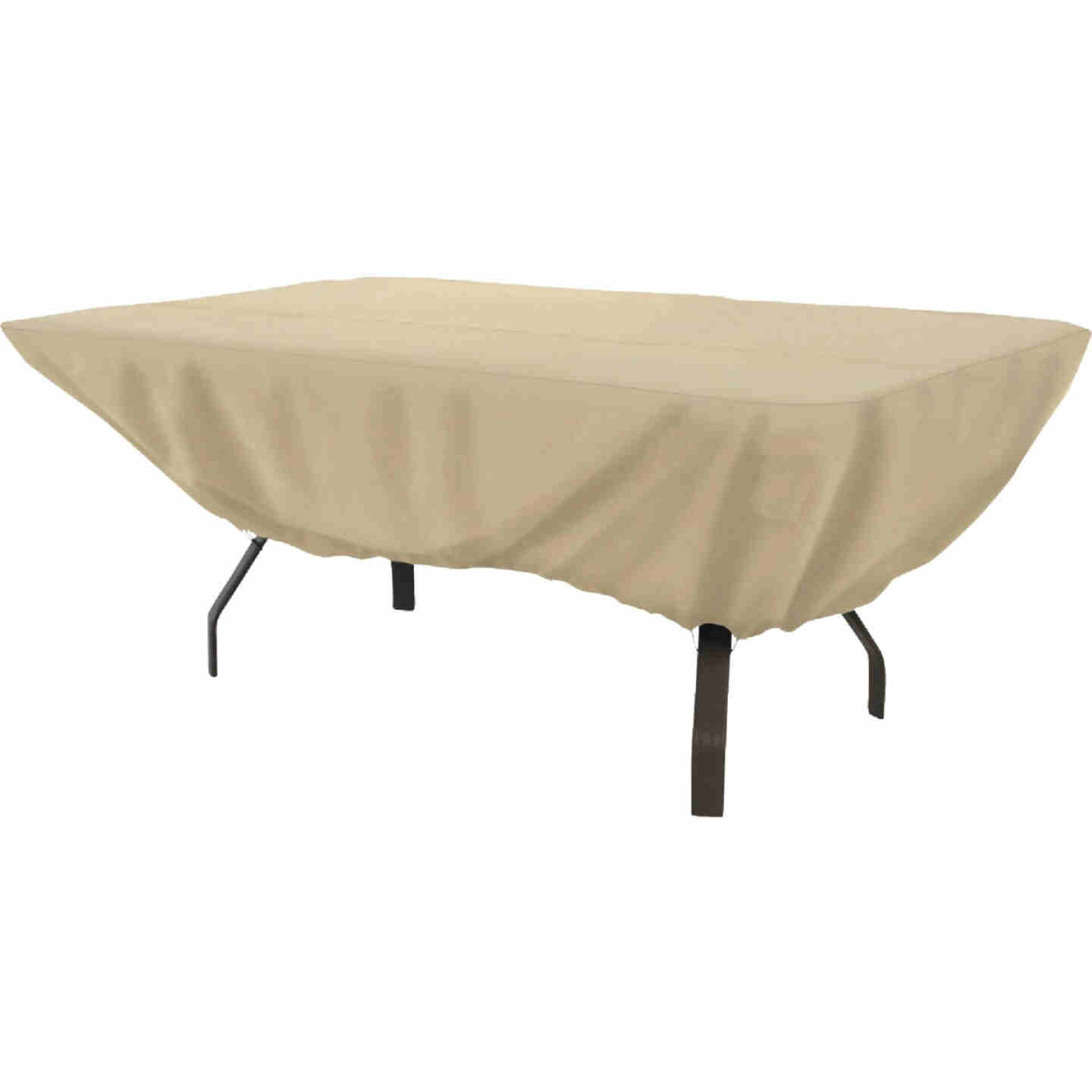 Classic Accessories 44 In. W. x 23 In. H. x 72 In. L. Tan Polyester/PVC Table Cover Image 1